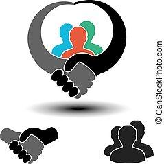 symbool, vector, handdruk, gemeenschap
