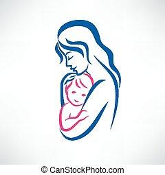 symbool, vector, moeder, zoon
