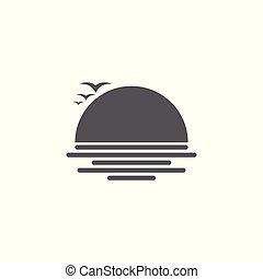 symbool, vector, ondergaande zon , logo, zeemeeuw, strand
