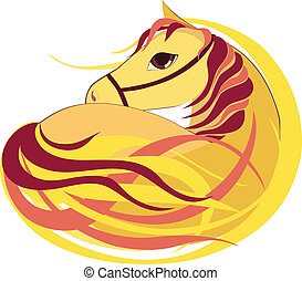 symbool, vector, paarde