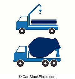 symbool, vector, vrachtwagen, illustratie
