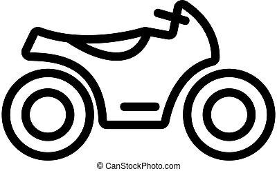 symbool, vector., vrijstaand, omtrek, illustratie, motorfiets, pictogram