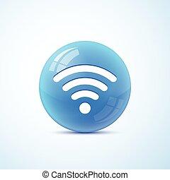 symbool, vector, vrijstaand, wifi