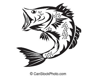 symbool, -, visserij, baars
