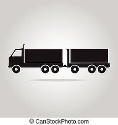 symbool, vrachtwagen, schamelaanhanger