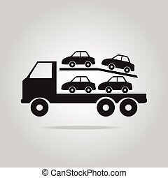 symbool, vrachtwagen, schamelaanhanger, illustratie