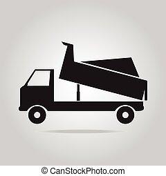 symbool, vrachtwagen, stortplaats