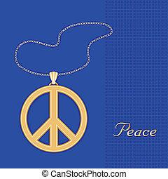 symbool, vrede, halssnoer, gouden ketting