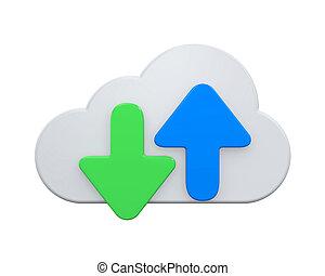 symbool, vrijstaand, wolk, gegevensverwerking