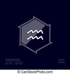 symbool, waterman, illustratie, vector, zodiac, teken., astrologie