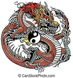 symbool, yin, draak, yang, vasthouden, rood