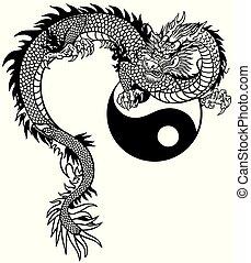 symbool, yin yang, chinese draak