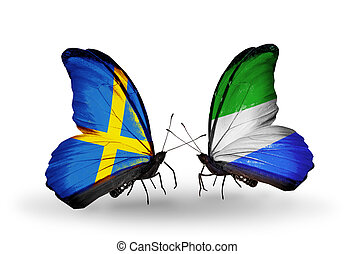 symbool, zweden, relaties, twee, vlinder, vlaggen, sierra, ...