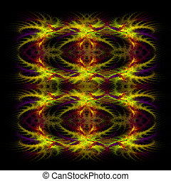 symetrical, resumen, fondo amarillo, fractal, rojo