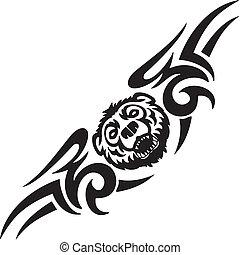 symetryczny, illustration., -, niedźwiedź, tribals, wektor