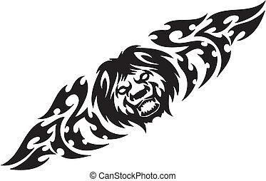 symetryczny, illustration., -, tribals, lew, wektor