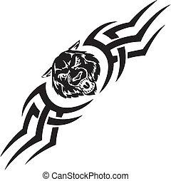 symetryczny, illustration., -, tribals, wektor, wilk