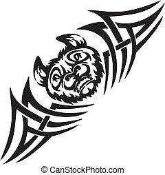 symetryczny, nietoperz, illustration., -, tribals, wektor