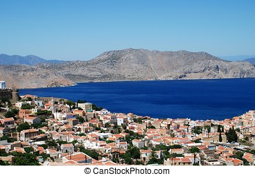 Symi island, Greece - Looking down onto the village of...