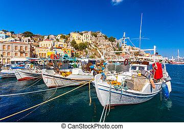 Symi Town Greece - Traditional Greek fishing boats in...