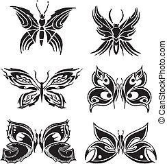 Symmetric butterfly tattoos. Set of black and white vector illustrations.