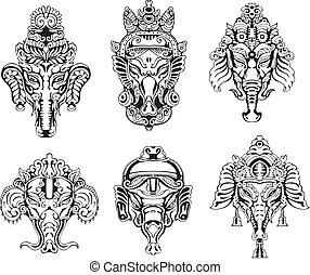 Symmetric Ganesha masks. Set of black and white vector illustrations.