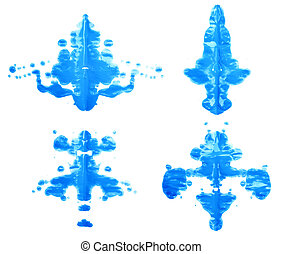 Symmetric abstract paint blot as in a Rorschach test isolated over the white background, set of four different images