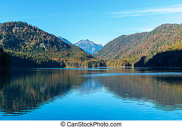Symmetric reflection of Alps and the forest on shores in the water surface in the lake in autumn