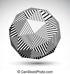 Symmetric spherical 3D vector technology illustration, perspective geometric striped orb, monochrome futuristic template with parallel lines.