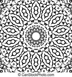 Symmetrical black and white pattern seamless ornament indian...