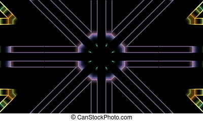 Symmetrical bright lines appear in the center and scatter in...