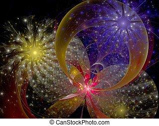 Symmetrical colorful fractal flower, digital artwork for ...