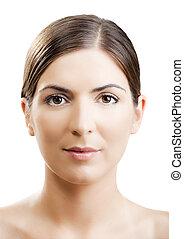 Close-up portrait of a woman with a symmetrical face