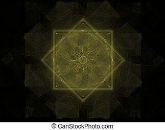 Symmetrical fractal flower, digital artwork for creative graphic