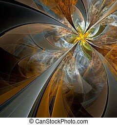 Symmetrical fractal flower, digital artwork for creative ...