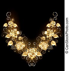 Symmetrical pattern of golden roses