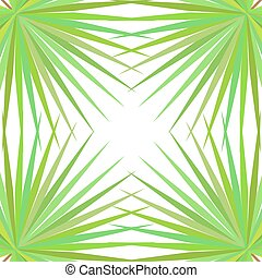 Symmetrical pattern with palm leaves on white background.