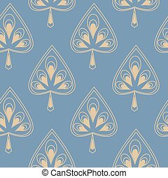 Symmetrical seamless pattern with decorative stylized leaves