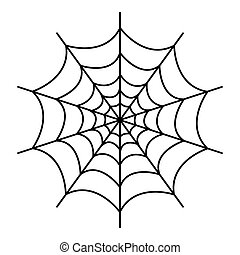 Symmetrical spider web icon, outline style
