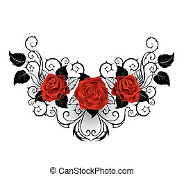 symmetrical pattern with red roses and black spiky stalks and black leaves on a white background.