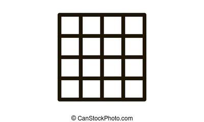 symmetrical tile surface Icon Animation. black symmetrical tile surface animated icon on white background