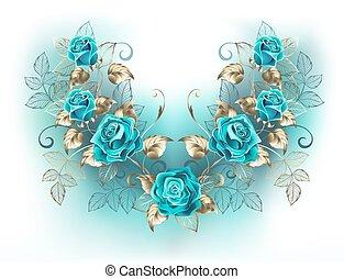 symmetrisch, samenstelling, met, turkoois, rozen