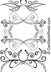 symmetrisch, set, versieringen