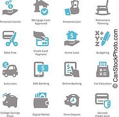 sympa, ensemble, finance, icones affaires, personnel, série, &, -, 2