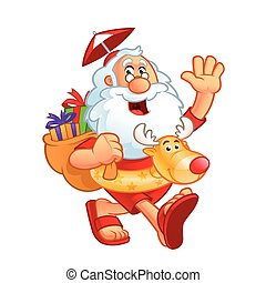 Sympathetic Santa Claus dressed in summer clothes