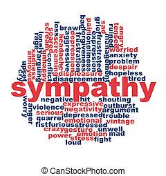 sympathie, concept, woord, wolk