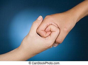 sympathie, hände, weisen