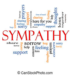 Sympathy Word Cloud Concept with great terms such as sorrow...