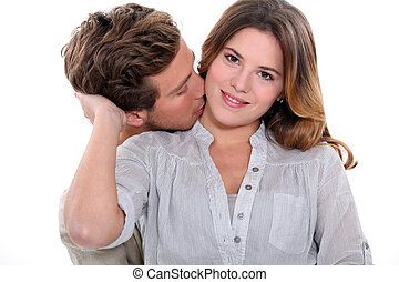 sympatia, całowanie, jego, młody mężczyzna