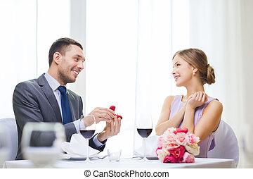 sympatia, człowiek, jego, proponujący, restauracja